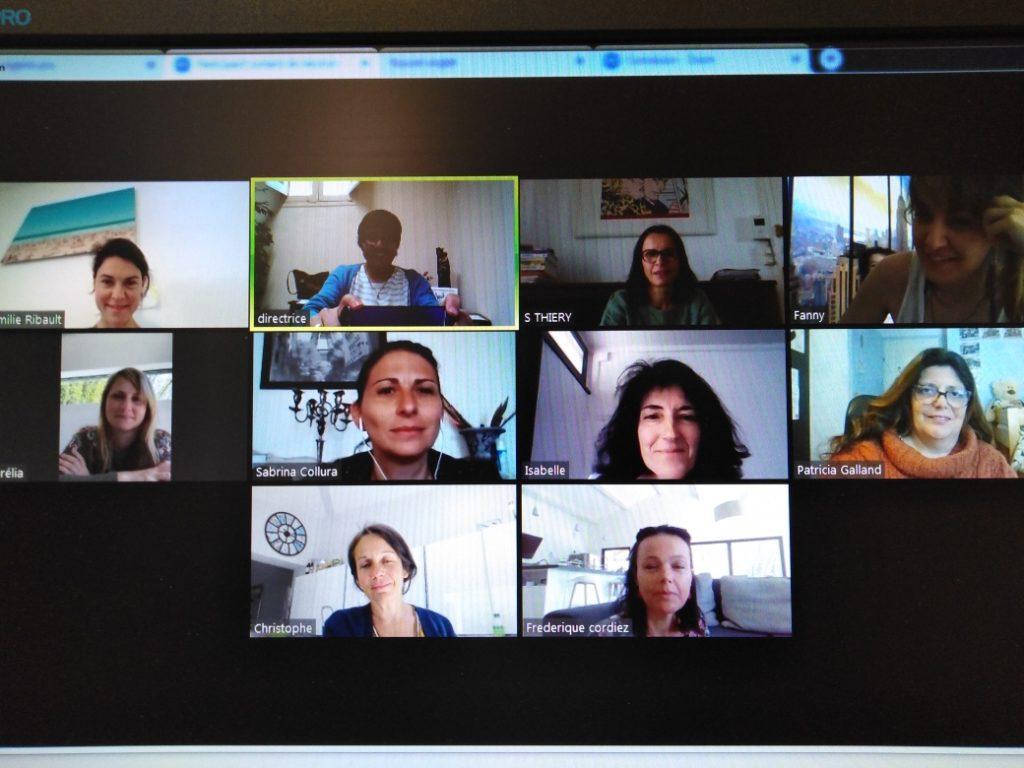 Sur cette image, on voit des professeurs en visio-conférence